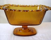 1981 Amber Decorative Dish on Pedestal - Vintage Collectible - Candy Dish - Nut Dish - FTDA 1981