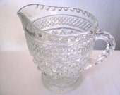 Antique 1940s - Anchor Hocking - Depression Glass -  Vintage Creamer - Clear Glass