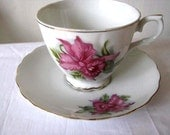 Floral Cup and Saucer - Original Napco China - IDD 5313 - Hand Painted