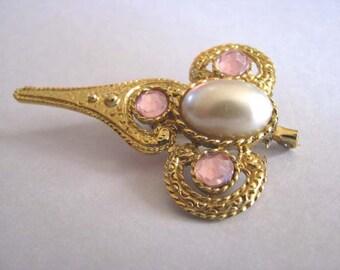 Vintage Brooch - Vintage Pearl Brooch - Pink Crystals