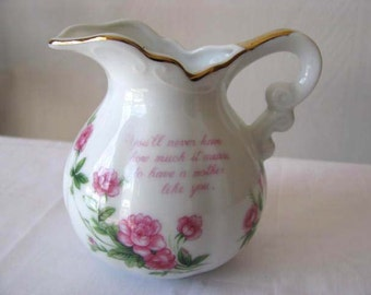 Mother Message - Lefton China - Vintage Creamer - Hand Painted - Christmas Gift