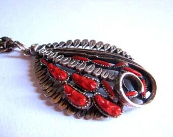 Vintage Southwest Silver and Coral Pendant - Unique Vintage Pendant