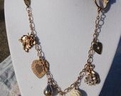 Shabby Chic Refashioned Charm Necklace OOAK