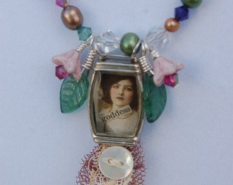 Garden Goddess Beaded Collage Necklace REDUCED