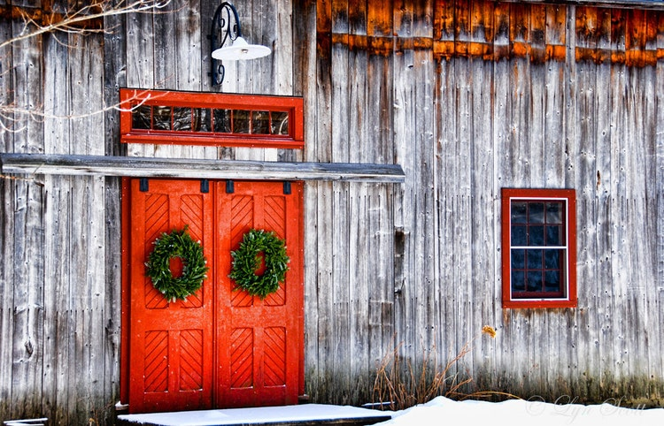 Red Barn Doors Landscape Christmas Print By