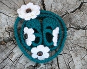 Crochet Baby Booties and Headband Gift Set with Flowers - Teal and Ivory with Brown Vintage Button - Bonus Free Mommy Headband to Match -
