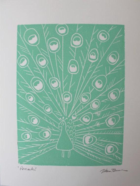 Peacock Linocut Print, Unframed