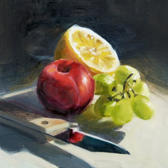Oil Painting of Fruit with a Knife
