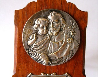 Jesus and Joseph plaque sterling and wood SALE PRICE 32.00.