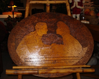 Charming very large pyrography tramp art from LoveToFeatherTheNest