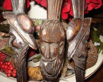 Hand carved ANRI set of 3 wood utensils...Fork, Knife and spoon....SALE PRICE 25.00....