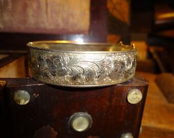 Gold plate engraved bracelet