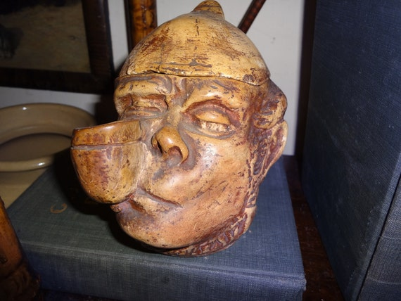 Tobacco jar clay Irishman with pipe and removeable hat
