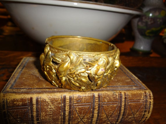 Brass plate whiting cuff repousse bracelet