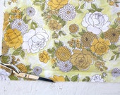 Vintage Sheet Yellow Floral Fabric - One Yard