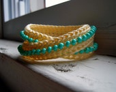 SALE! Double Wrap Bracelet - Light Yellow/Cream with Turquoise Beads