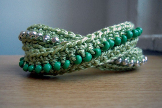 Wrap Beaded Bracelet - Light Green with Kelly Green and Silver Beads