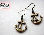 Anchor earrings - bronze - anchors, sailing, ship, sea, 3D, 3 d, maritime, nautical, jewelry, jewellery