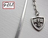 Shield bookmark - silver - fleur de lis, French, armour, medieval, Knight