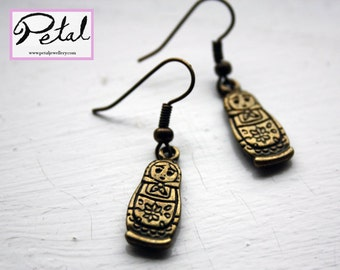 Russian Doll earrings - Bronze - Matryoshka dolls - 3D, 3 d, bow, Russia, 80% of price to charity, fundraising