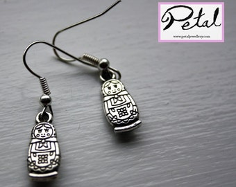 Russian Doll earrings - Silver - Matryoshka dolls - 3D, 3 d, bow, Russia, 80% of price to charity, fundraising