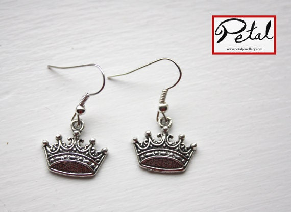 Crown earrings - silver - king, queen, prince, princess, royal, monarchy, regal, royalty, jubilee