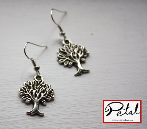 Tree earrings - silver - forest, orchard, garden, metal, nature, jewelry, jewellery