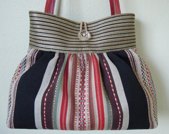 Pleated Bag / Striped Bag, Pretty and Durable, Handmade from Upholstery Fabric with a Colorful Embroidered and Woven Striped Pattern.