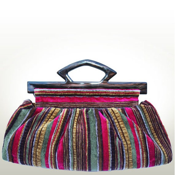 THE CLUTCH BAG, Stylish and Durable, Handmade from Striped Chenille Velvet Fabric in Wiled Berry Colors with Two Dark Brown Lucite Handles
