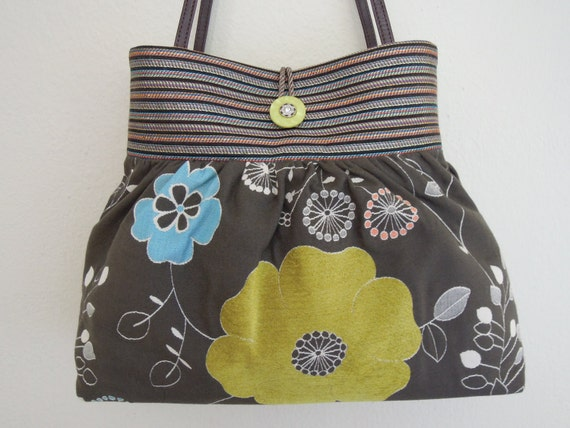 PLEATED Bag / Shoulder Purse Handmade from a Unique and Durable Upholstery Fabric with a Colorful Woven Chenille Floral Pattern