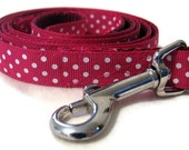 Dog leash lead - pink polka dots ribbon red nylon backing - 4 feet long
