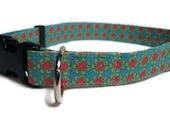 """Dog Collar Teal with Pink Flowers - Adjustable - Large Size 3/4"""""""