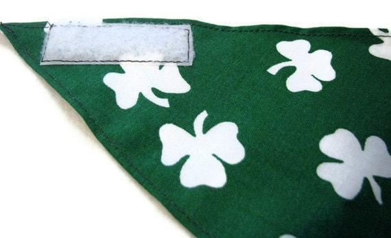 Dog Bandana - St. Patrick's Day Green with White Shamrocks - Adjustable - Medium Size - Velcro