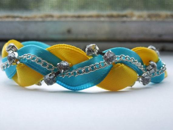 Yellow and Aquamarine Braided Ribbon & Chain Bracelet