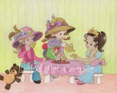 11x14 Print of Girls Tea Party Painting and Collage