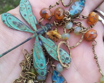 float and fall: dragonfly, patina, fall colors, mom to be gift, birthday jewelry, bridesmaid gift, long necklace