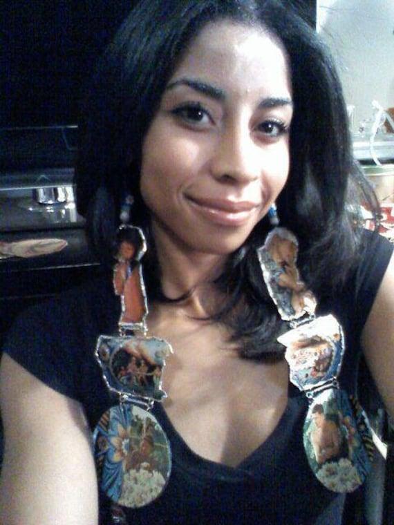 En llamas Y paz ( huge earrings) recycled environmentally friendly jewelry aboriginal
