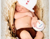 Baby Baseball Hat & Diaper Cover  - Crochet custom colors available