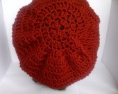 Red Crochet Hat, Red Hat, Crochet Brick Red Slouchy Hat, Beret, Tam, FREE SHIPPING