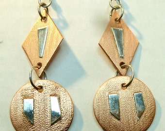 Handmade, Handcrafted, Copper, .999 Pure Silver, Earrings