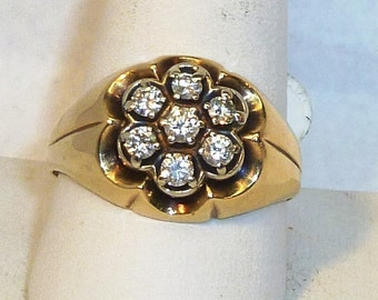 Classic, Vintage, 1ct. Diamond, Cluster, 14karat, Yellow Gold Men's Ring