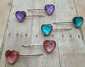Sequin Heart Bobby Pin - Set of 2 - Pink, Blue or Purple
