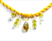 Mango Yellow  Chalcedony Necklace Handmade  Yellow Gem and Crystals Necklace Chalcedony