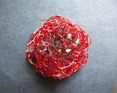 Swarovski Crystals and Orange Wire Brooch