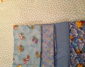 Light Blue and White Hearts, Stars and Moons Baby Boy 100% Cotton Flannel Fabric Bundle