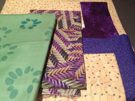 Purples, Gold and Greens Cotton Fabric Bundle