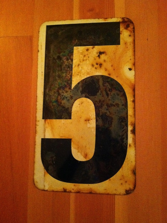Weathered Vintage Metal Number sign from old gas station  --- 4/5