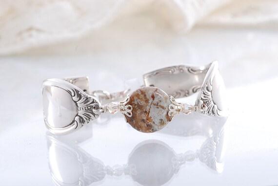 Vintage Spoon Bracelet - Chalcedony Opal Bracelet - Spoon Jewelry- Silverware Bracelet - Spoon Bracelet  (mf  614)
