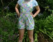 SALE CUTE  pastel rainbow patchwork jumpsuit romper medium