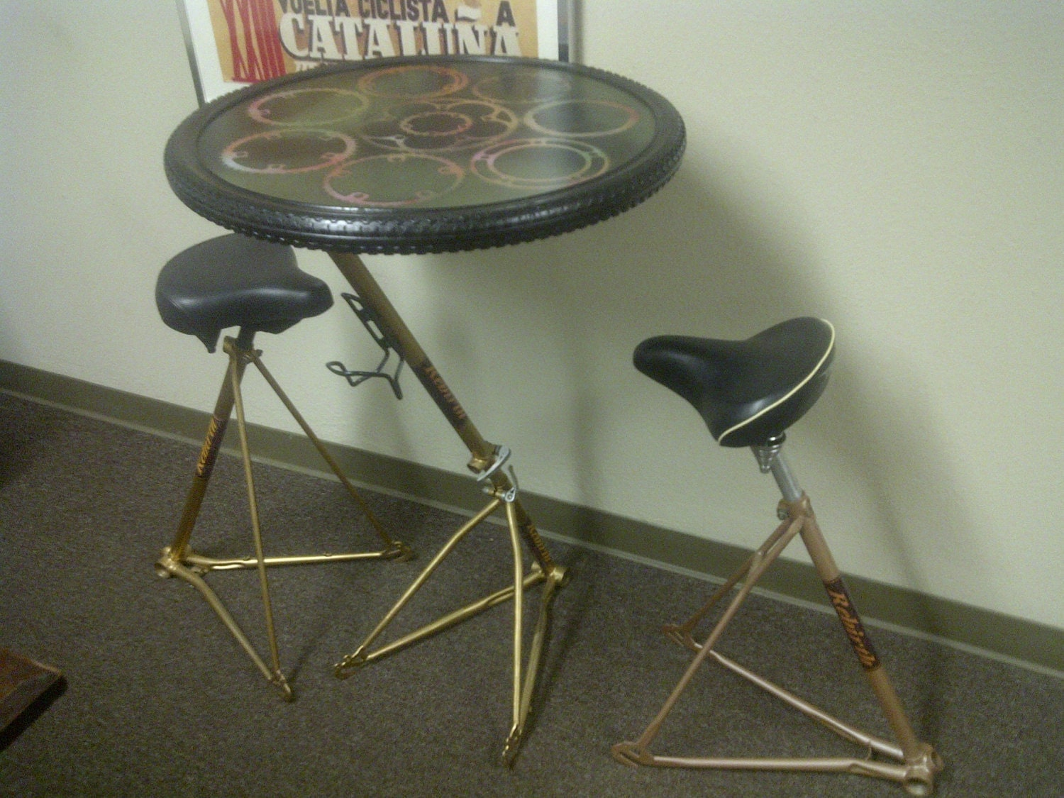 garage paint ideas pinterest - Hand built Bicycle Frame Table and Bar stool Set recycled